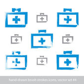 Set of brush drawing simple blue first aid kit, medicine icons c — Stock Vector