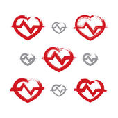 Set of hand-drawn red heart icons, collection of brush drawing h — Stock Vector