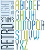 Poster retro hell gestreiften schriftart, verkürzte großbuchstaben auf — Stockvektor