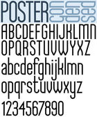 Poster black regular condensed font and numbers. — Stock Vector