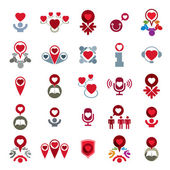 Love theme vector icons set, conceptual valentine and romantic s — Stock Vector