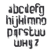 Vector alphabet letters set, hand-drawn monochrome script, dirty — Vecteur