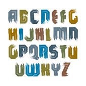 Vector alphabet letters set, hand-drawn colorful script, bright  — 图库矢量图片