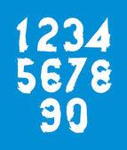 Vector stylish brush digits, handwritten numerals, white numbers — Stock Vector