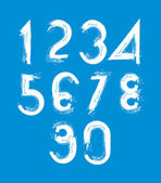 Handwritten white vector numbers isolated on blue background, pa — Stok Vektör