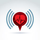 Cardiology cardiogram heart beat information icon, vector concep — Stock Vector
