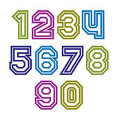 Colorful regular stripy numeration, modern vector poster numbers — Stock Vector