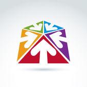 3d abstrakt emblem mit fünf multidirektionale pfeile in t gelegt — Stockvektor