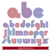 Elegant unusual striped typescript, colorful lined round letters — Stockvector