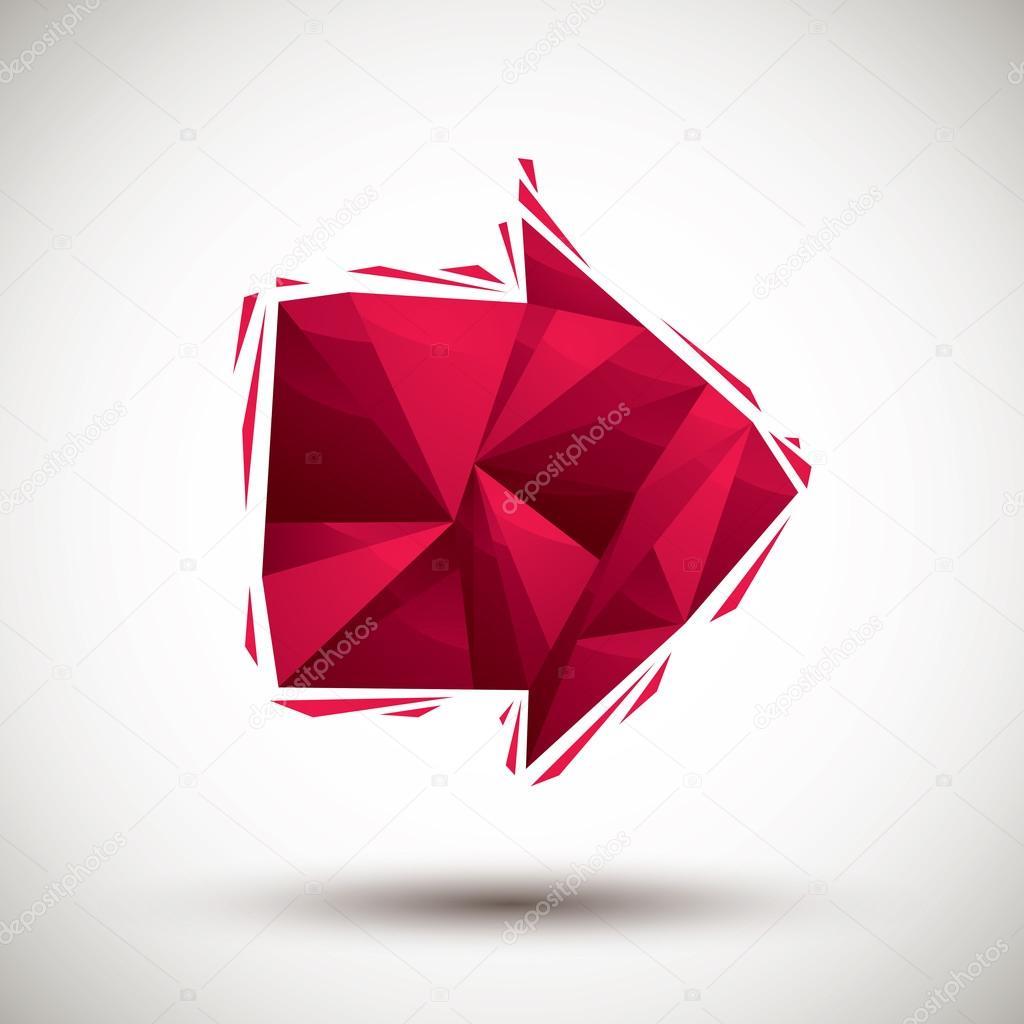 ic ne g om trique de fl che rouge faite dans un style moderne 3d meilleur usage un image. Black Bedroom Furniture Sets. Home Design Ideas