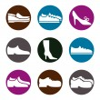 Footwear icon vector set, vector collection of shoes pictograms. — ストックベクタ