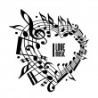 I love music concept, black and white design. — Stock Vector #49113865