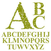 Font made with leaves, floral alphabet letters set, vector desig — Stock Vector