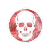 Skull vector icon with pixel print halftone dots texture. — Vector de stock