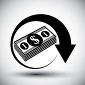 Dollars cash money stack vector simple single color icon. — Vetorial Stock