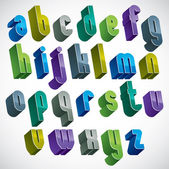 3d colorful letters alphabet, dimensional font in blue and green — Stock Vector