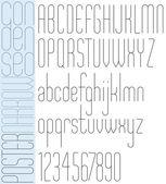 Poster black slim condensed narrow font and numbers. — ストックベクタ
