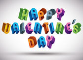 Happy Valentines Day greeting phrase made with 3d retro style — Διανυσματικό Αρχείο