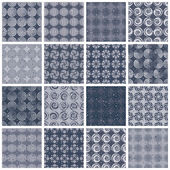 Retro style tiles seamless patterns set 2. — ストックベクタ