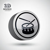 Drum 3d vector icon isolated. — 图库矢量图片
