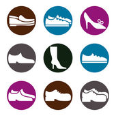 Footwear icon vector set, vector collection of shoes pictograms. — Stock Vector