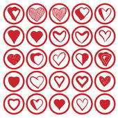 25 heart icons set. — Vector de stock