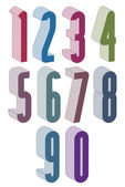 3d extra tall numbers set made with round shapes. — Vettoriale Stock