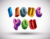 I Love You phrase made with 3d retro style geometric letters. — Stockvector