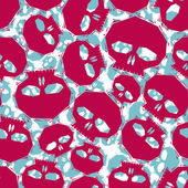 Red skulls seamless pattern, geometric contemporary style repeat — Stock Vector