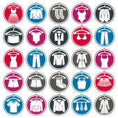Clothes on a hangers icon set, vector collection of fashion signs. — Stock Vector