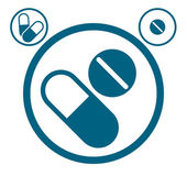 Medical pills icon. — Vector de stock