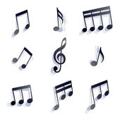 Vector black monochromatic musical notes and symbols isolated on — Stock Vector