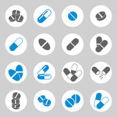 Medical pills icons set, vector collection. — Vector de stock