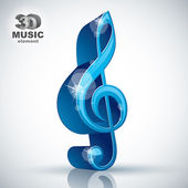 Treble clef 3d blue music design element, vector illustration. — Stock Vector