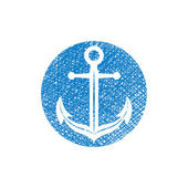 Anchor vector icon with hand drawn lines texture — Stock Vector