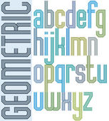 Retro colorful font with repeated lines, geometric poster letter — Stockvector