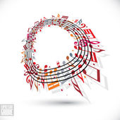 Red music background with clef and notes. — Stock Vector