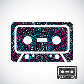 Decorative colorful vector cassette tape symbol filled with musi — Stockvector