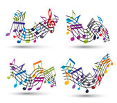 Bright jolly vector staves with musical notes on white backgroun — Stock Vector