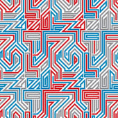 Abstract lined maze seamless pattern. — Vector de stock