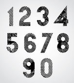 Black spotted numbers with diagonal lines. — Stock Vector