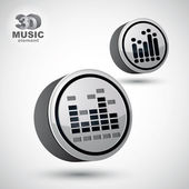 Equalizer vector 3d round icon isolated, 2 versions set. — Stock Vector