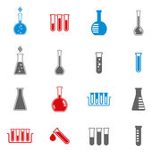 Chemical and medical flask icons vector set. — Stok Vektör
