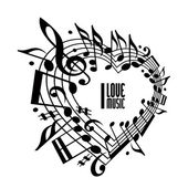 I love music concept, black and white design. — Stock Vector