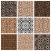 Monochrome brown vintage style tiles seamless patterns set. — Stock Vector