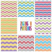 Zig zag geometric seamless patterns set, vector backgrounds coll — Stock Vector