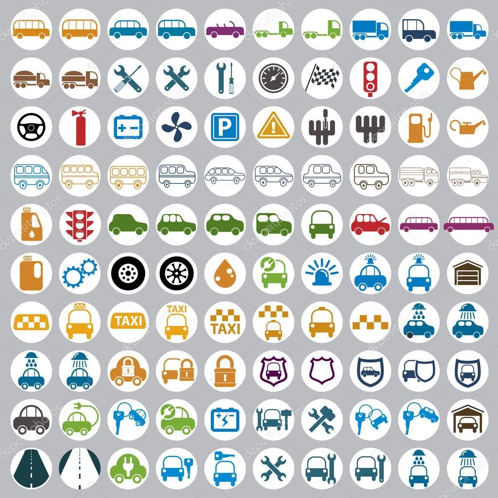 100 车和运输的图标颜色矢量集 — 矢量图片作者 ostapius