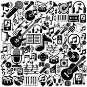 Set of musical elements, vector black isolated musical icons. — Stock Vector
