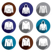 Man sweaters vector icon set. — Stock Vector