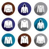 Man sweaters vector icon set. — Stock Vector